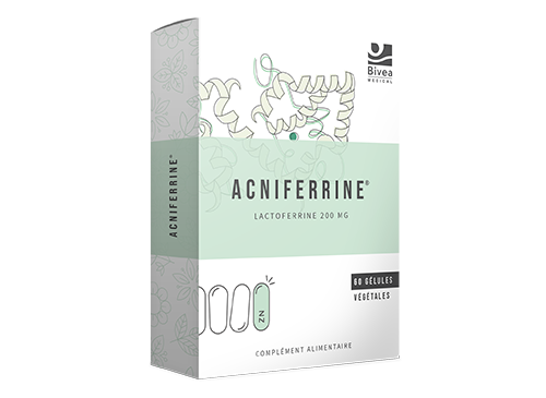 Boite Acniferrine à base de lactoferrine de zinc de vitamine E et D3